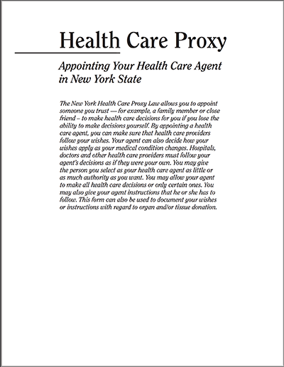 Health Care Proxy Form for download