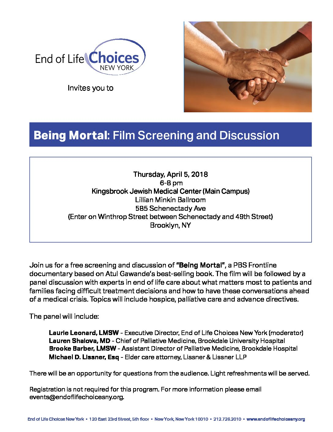 Being Mortal Screening and Discussion – End of Life Choices