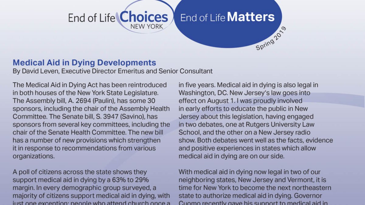 End of Life Choices New York - Spring 2019 Newsletter