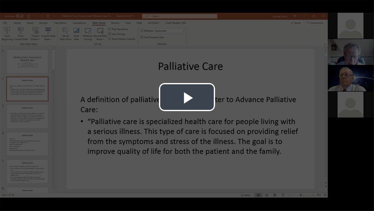 Video: Palliative Care, Hospice and Relevant Laws